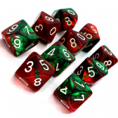 Green & Red Gemini D10 Ten Sided Dice Set